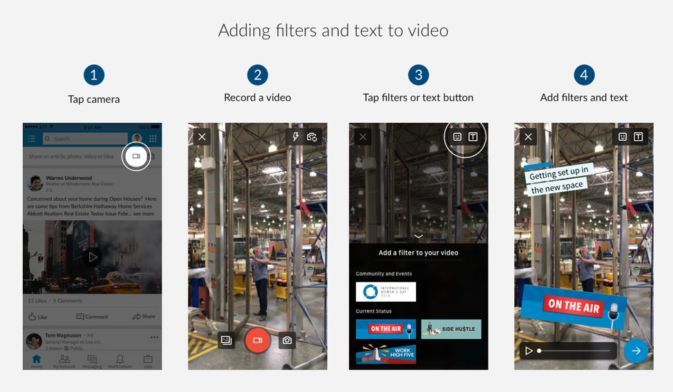 LinkedIn Filters and Text in order to Video Image