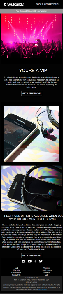 SkullCandy VIP Email Personalization Example