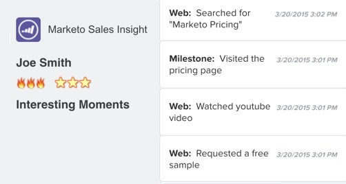 example of email alert sent by Marketo marketing automation software middle-of-the-funnel